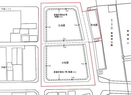 高麗橋地区地区計画 地図