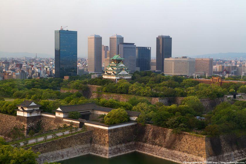 大阪城とOBP 夕景 02