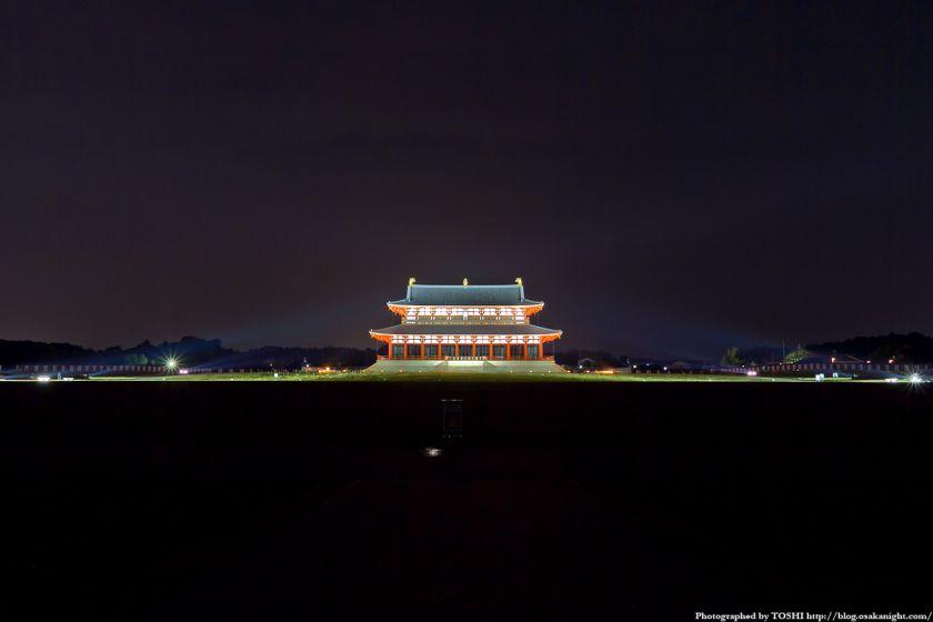 平城宮跡 第1次大極殿 ライトアップ夜景 01