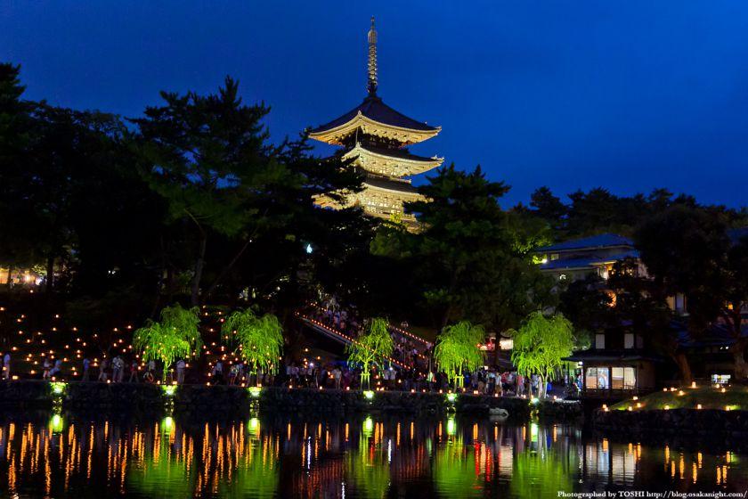 猿沢池と興福寺ライトアップ