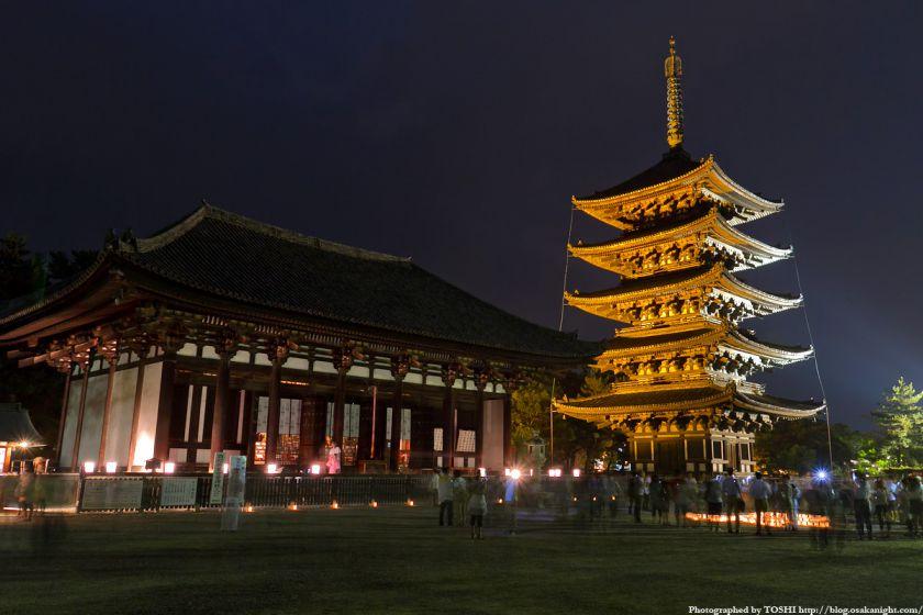 興福寺ライトアップ夜景 01
