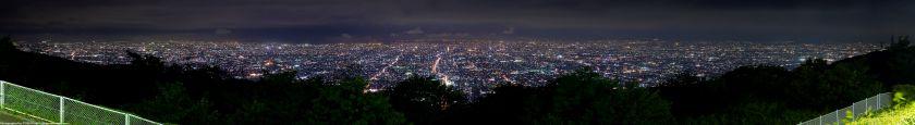生駒山上遊園地からの大阪夜景パノラマ