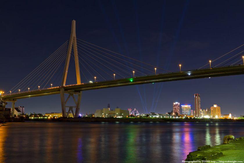 天保山大橋とUSJ 夜景