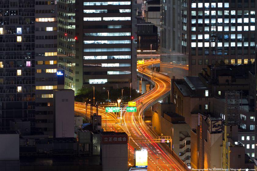 阪神高速 中之島分岐の夜景