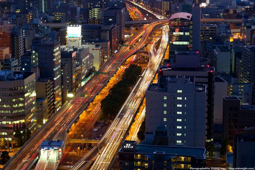 阪神高速 阿波座ジャンクションの夜景