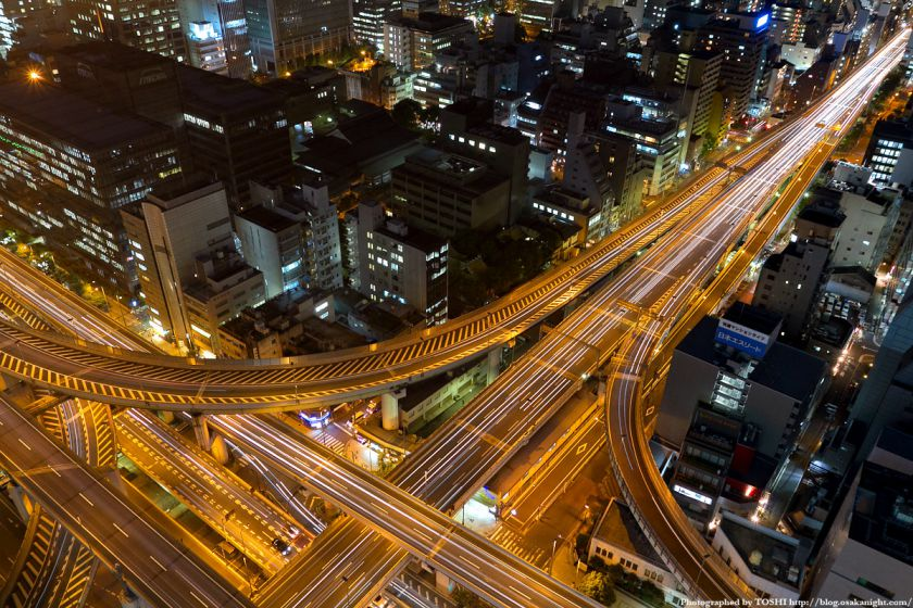 阪神高速 西船場ジャンクションの俯瞰夜景 01