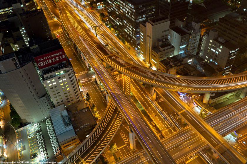 阪神高速 西船場ジャンクションの俯瞰夜景 02