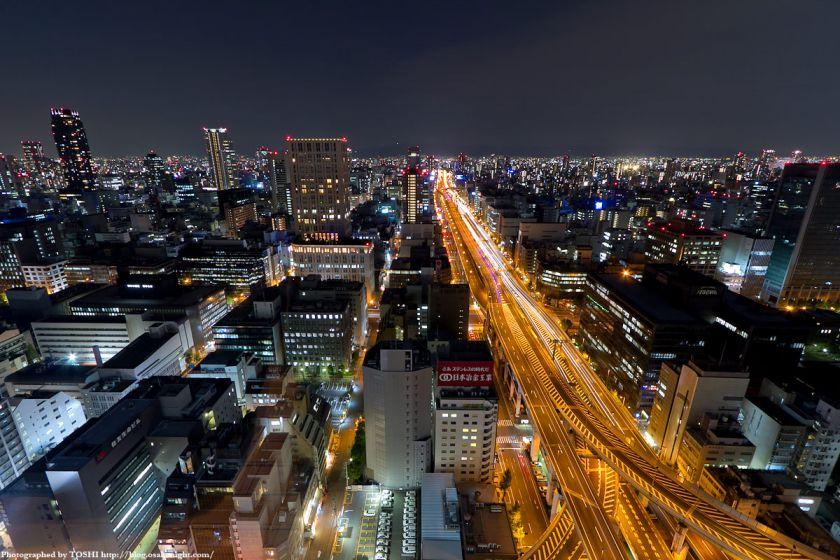 阪神高速 13号東大阪線と船場の夜景