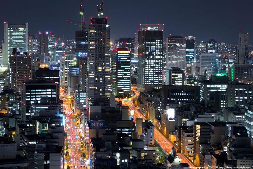 オリックス本町ビルから見た梅田方面の夜景 02
