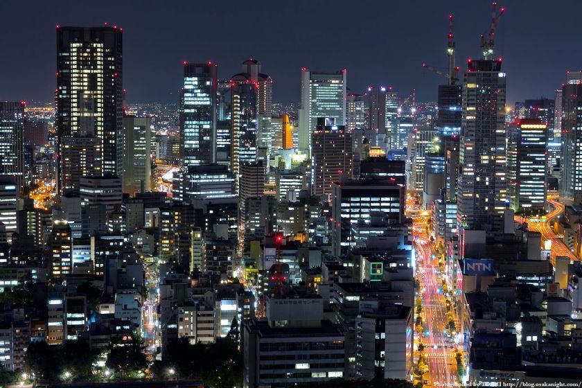 オリックス本町ビルから見た梅田方面の夜景 03