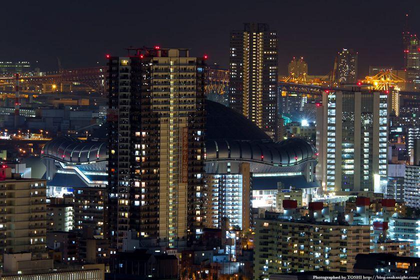 オリックス本町ビルから見た京セラドーム大阪の夜景