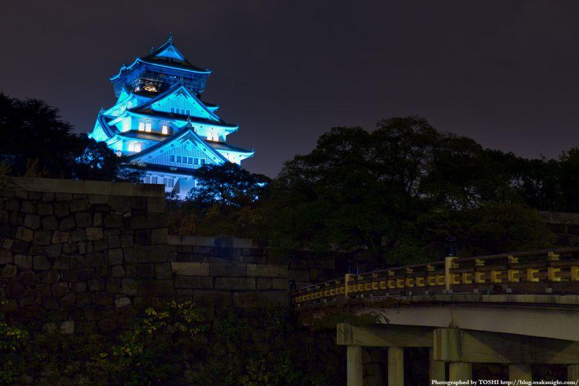 大阪城天守閣 ブルーライトアップ 05