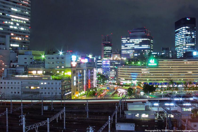 梅田阪急、阪神百貨店前の夜景 2003年頃