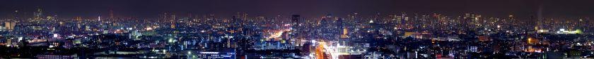 生駒山から見た大阪市中心部の夜景パノラマ