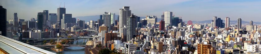 OMMビルから見た中之島〜梅田の高層ビル群 パノラマ 2012