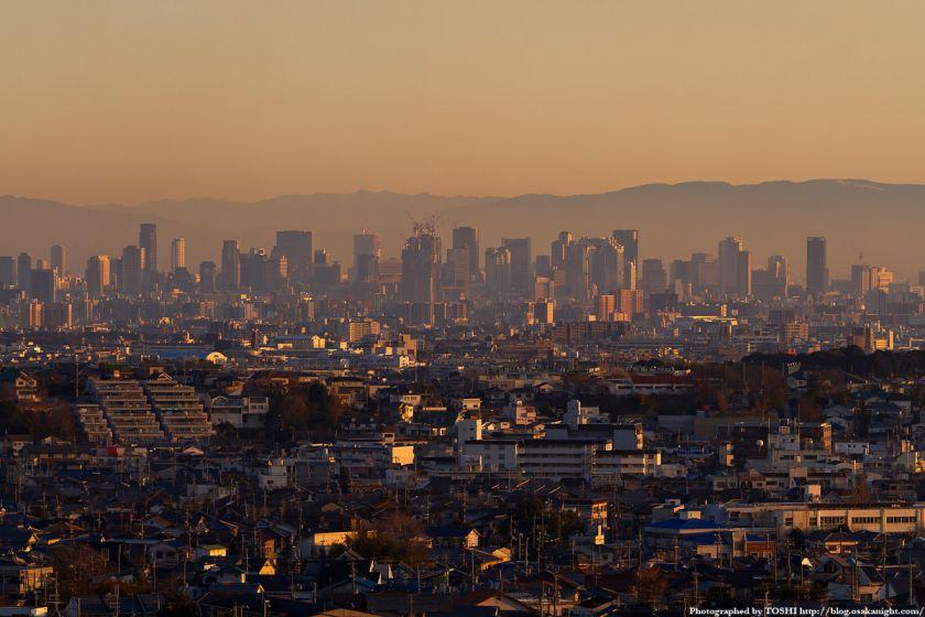 箕面スカイアリーナから見た大阪の高層ビル群 夕景