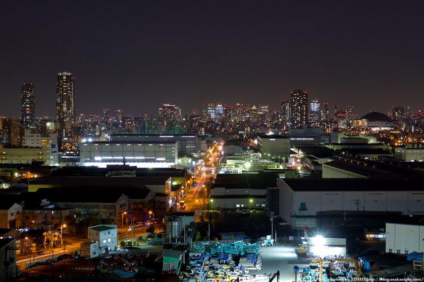なみはや大橋から見た大阪市中心部の夜景 2012年3月