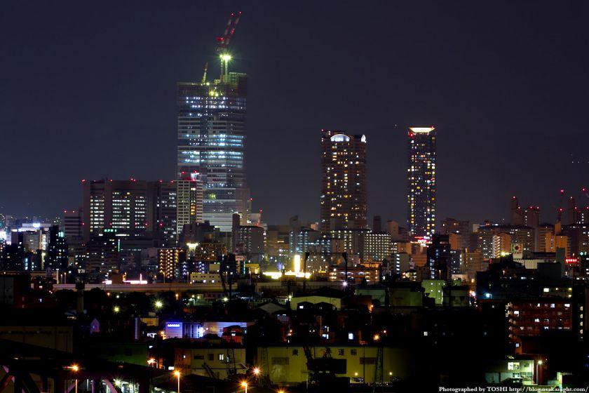 なみはや大橋から見たあべのハルカス 夜景 2012年3月