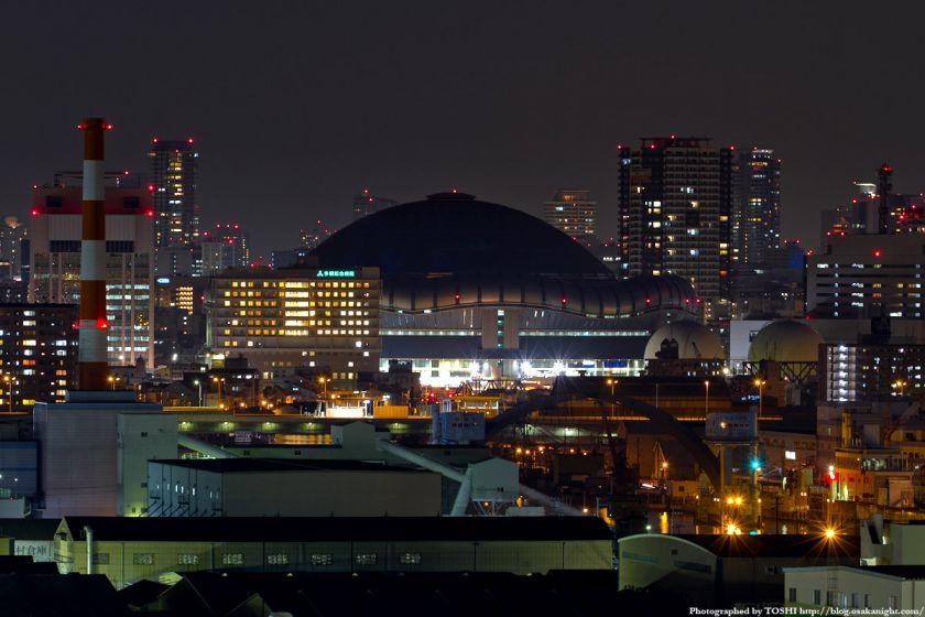 なみはや大橋から見た京セラドーム大阪 夜景 2012年3月