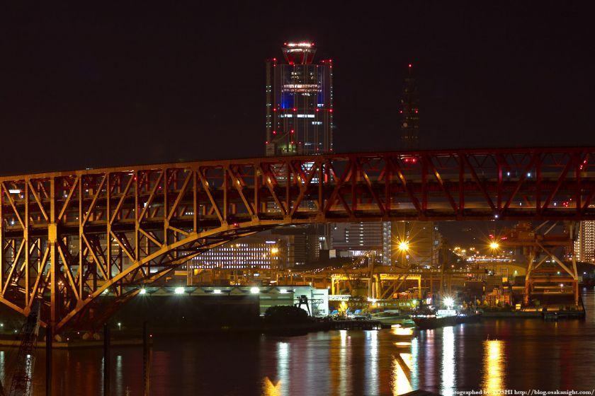 なみはや大橋から見た港大橋と南港コスモスクエア 夜景 2012年3月