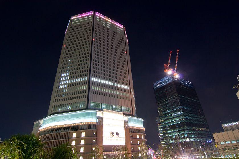 梅田阪急ビル ライトアップ試験点灯2