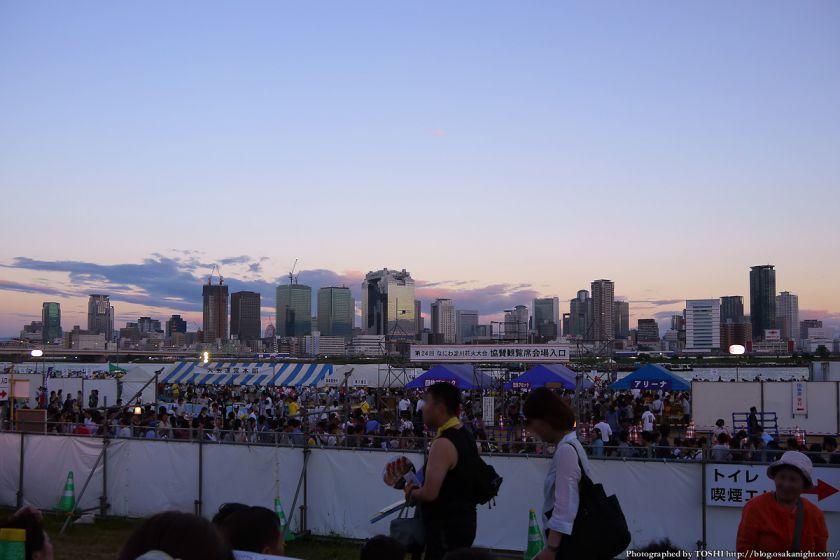 淀川河川公園から見た梅田の夕景 2012年8月 01