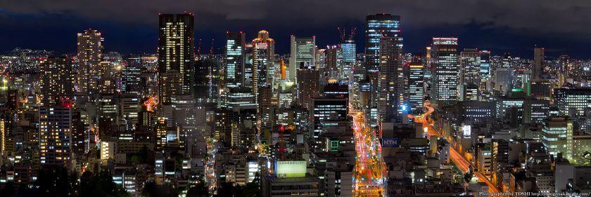 梅田〜中之島 夜景パノラマ from オリックス本町ビル 2012年5月