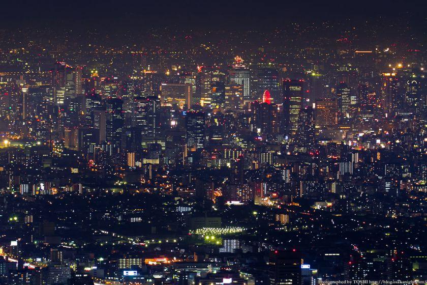 生駒山 なるかわ園地 ぼくらの広場 夜景 (梅田方面)