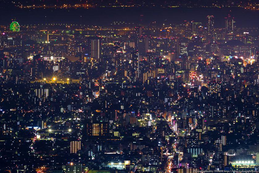 生駒山 なるかわ園地 ぼくらの広場 夜景 (難波方面)