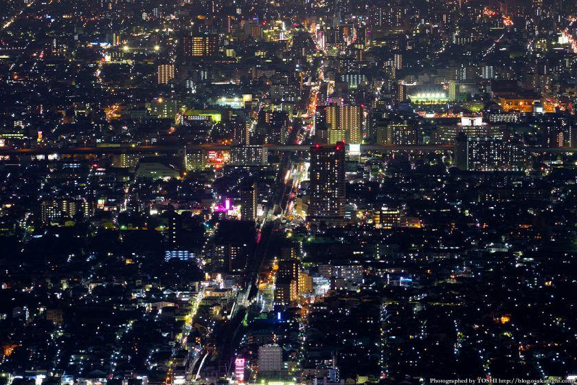 生駒山 なるかわ園地 ぼくらの広場 夜景 (近鉄若江岩田駅周辺)