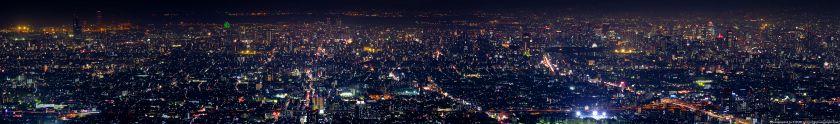 生駒山 なるかわ園地から見た大阪市中心部の夜景パノラマ