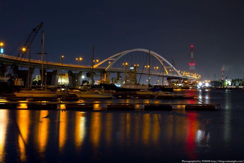 石津漁港と新浜寺大橋 夜景