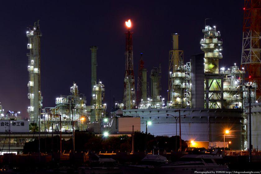石津漁港から見た堺泉北臨海工業地帯 夜景 03