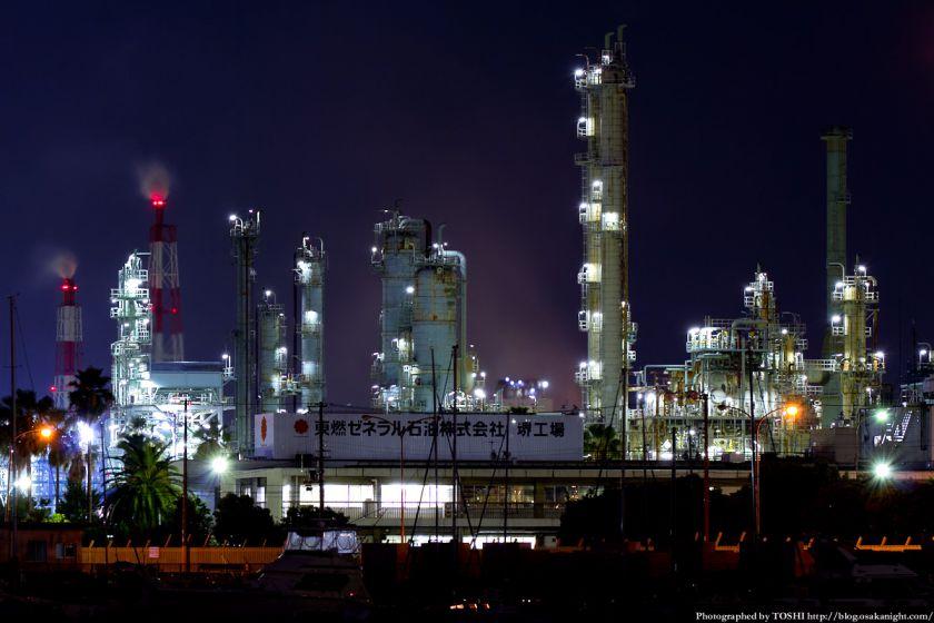 石津漁港から見た堺泉北臨海工業地帯 夜景 04