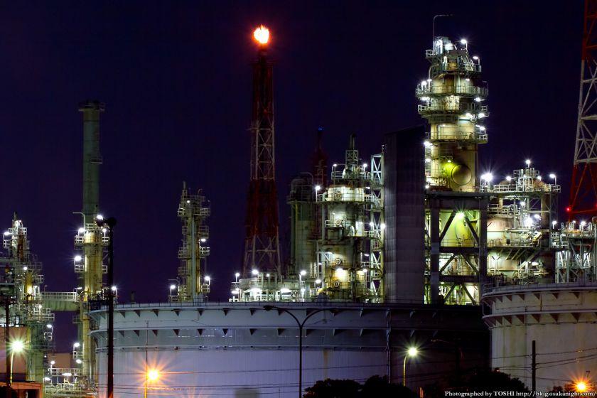 石津漁港から見た堺泉北臨海工業地帯 夜景 05