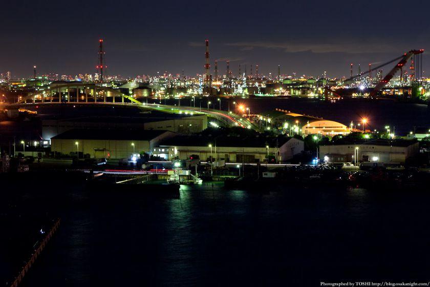 泉大津PAから見る堺泉北臨海工業地帯の夜景 01