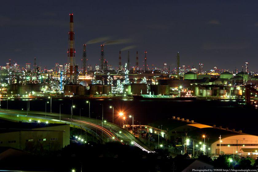 泉大津PAから見る堺泉北臨海工業地帯の夜景 02