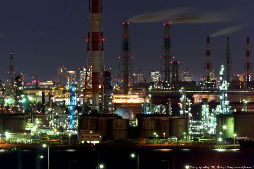 泉大津PAから見る堺泉北臨海工業地帯の夜景 03