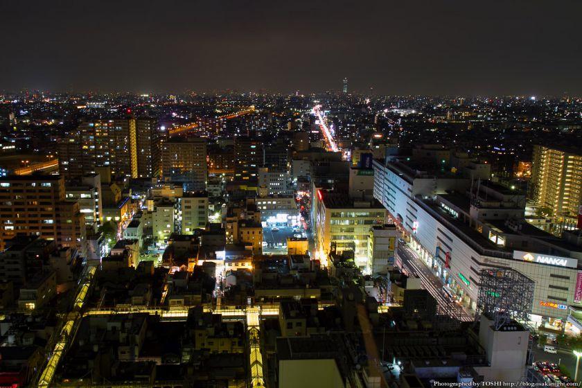 堺市役所21階展望ロビーからの夜景 北方向
