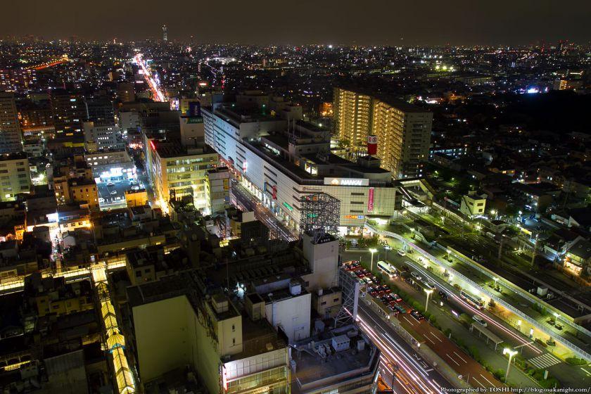 堺市役所21階展望ロビーからの夜景 南海堺東駅周辺 01