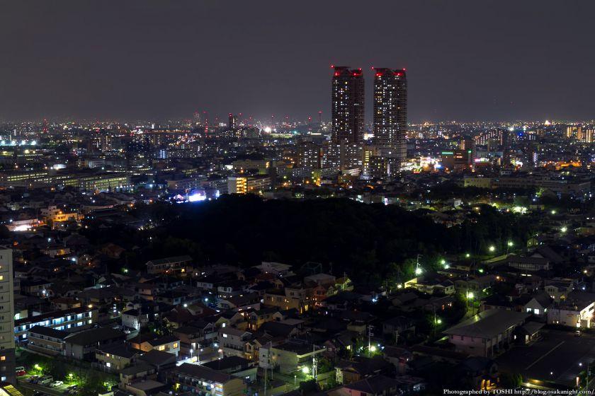 堺市役所21階展望ロビーからの夜景 JR堺市駅と反正天皇陵