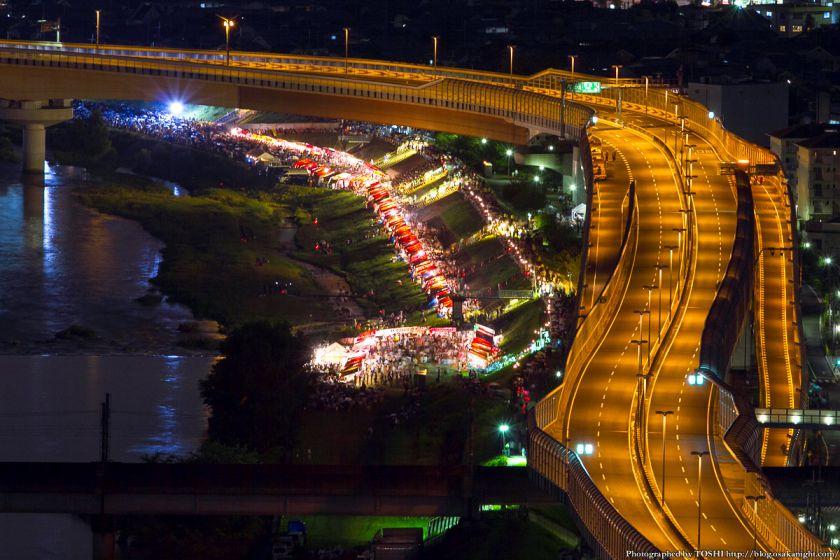 猪名川と阪神高速 夜景 2012年8月