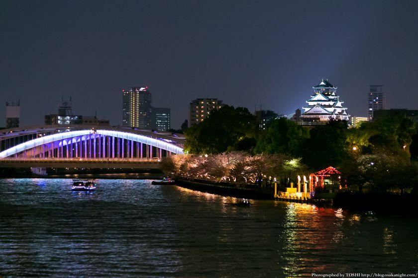 毛馬桜之宮公園 観桜ナイター 2013 14 (銀橋と大阪城)