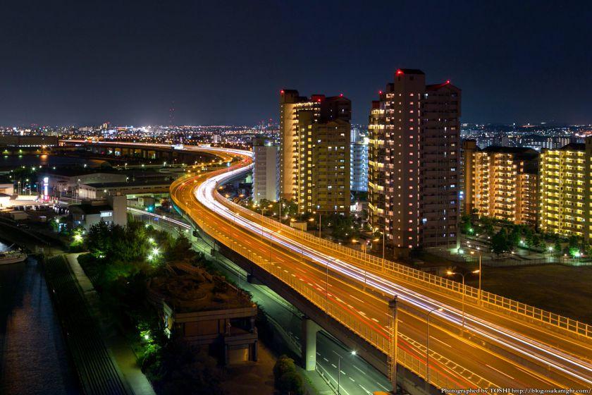 阪神高速 泉大津PA パノラマルームからの夜景 2013 01 (大阪市内方面)