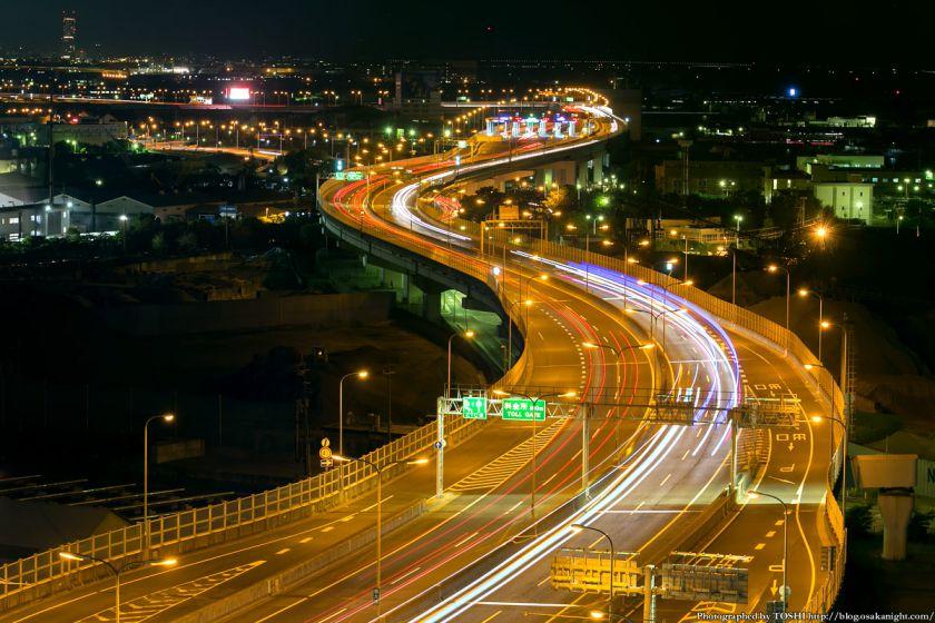 阪神高速 泉大津PA パノラマルームからの夜景 2013 02 (関空方面)