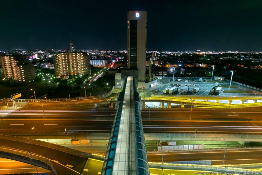 阪神高速 泉大津PA パノラマルームからの夜景 2013 03 (連絡橋)