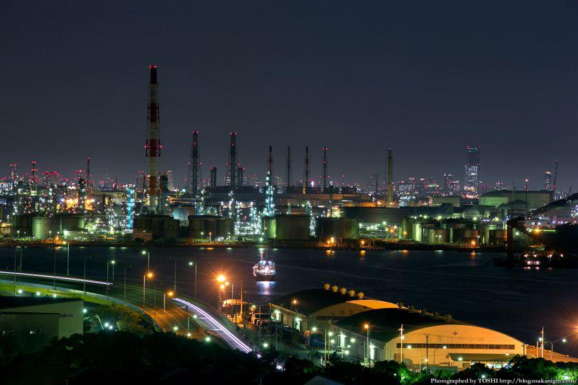 阪神高速 泉大津PA パノラマルームからの夜景 2013 04 (堺泉北臨海工業地帯)