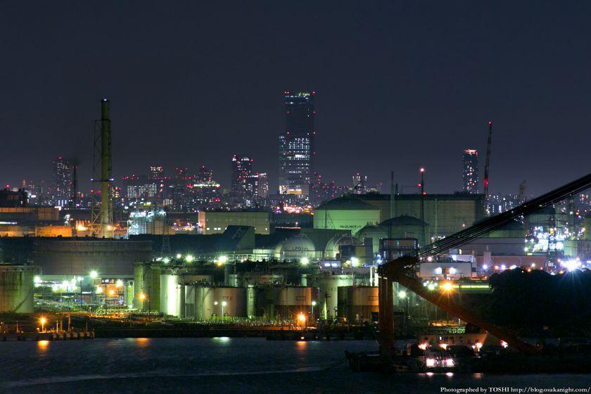 阪神高速 泉大津PA パノラマルームからの夜景 2013 05 (あべのハルカス)