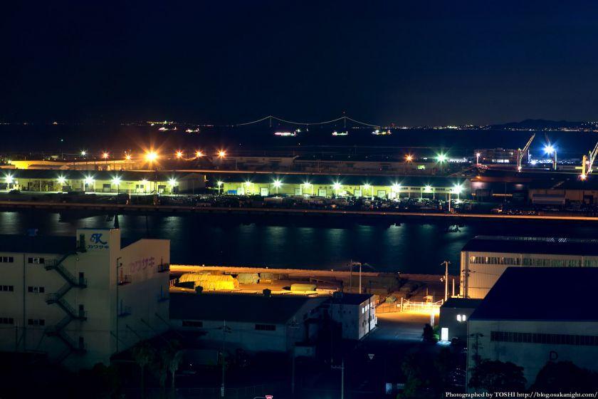 阪神高速 泉大津PA パノラマルームからの夜景 2013 06 (明石海峡大橋)