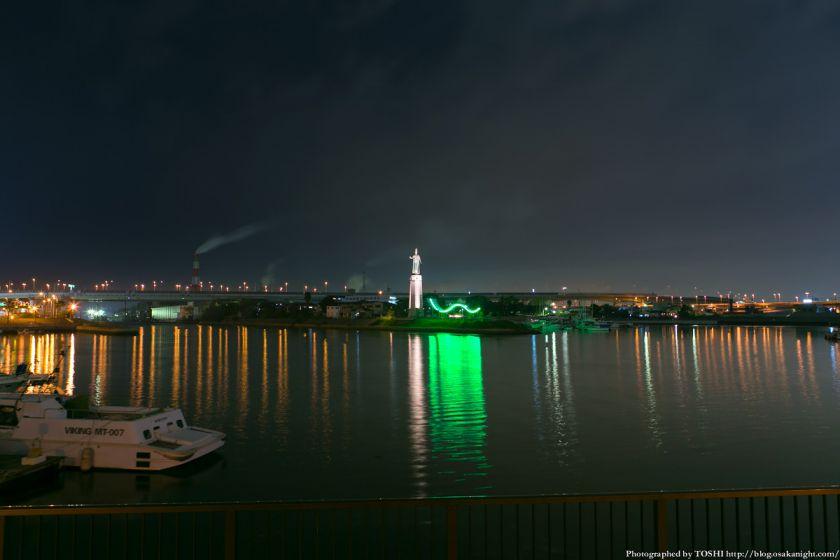 堺旧港 龍女神像の夜景 01